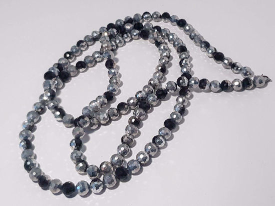 Picture of Woman's Necklace with a combination of black and silver crystal beads  Handmade.