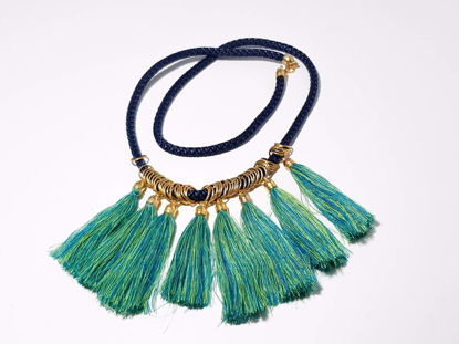 Picture of Woman's Necklace with 8 big green tassels in a blue rope  Handmade.