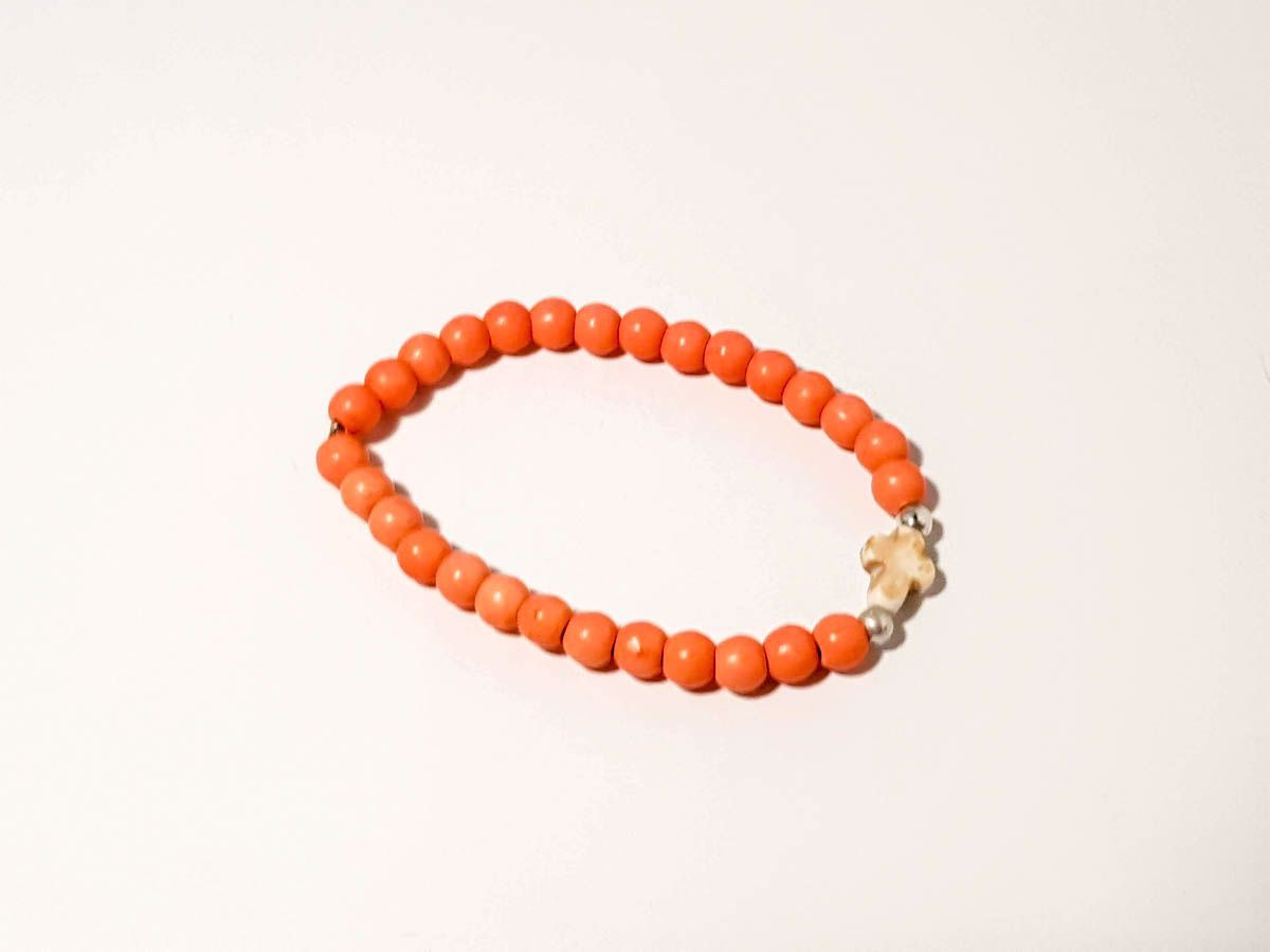 Picture of Woman's Bracelet with 4mm chaolite beads and chaolite cross. Various Colors Handmade
