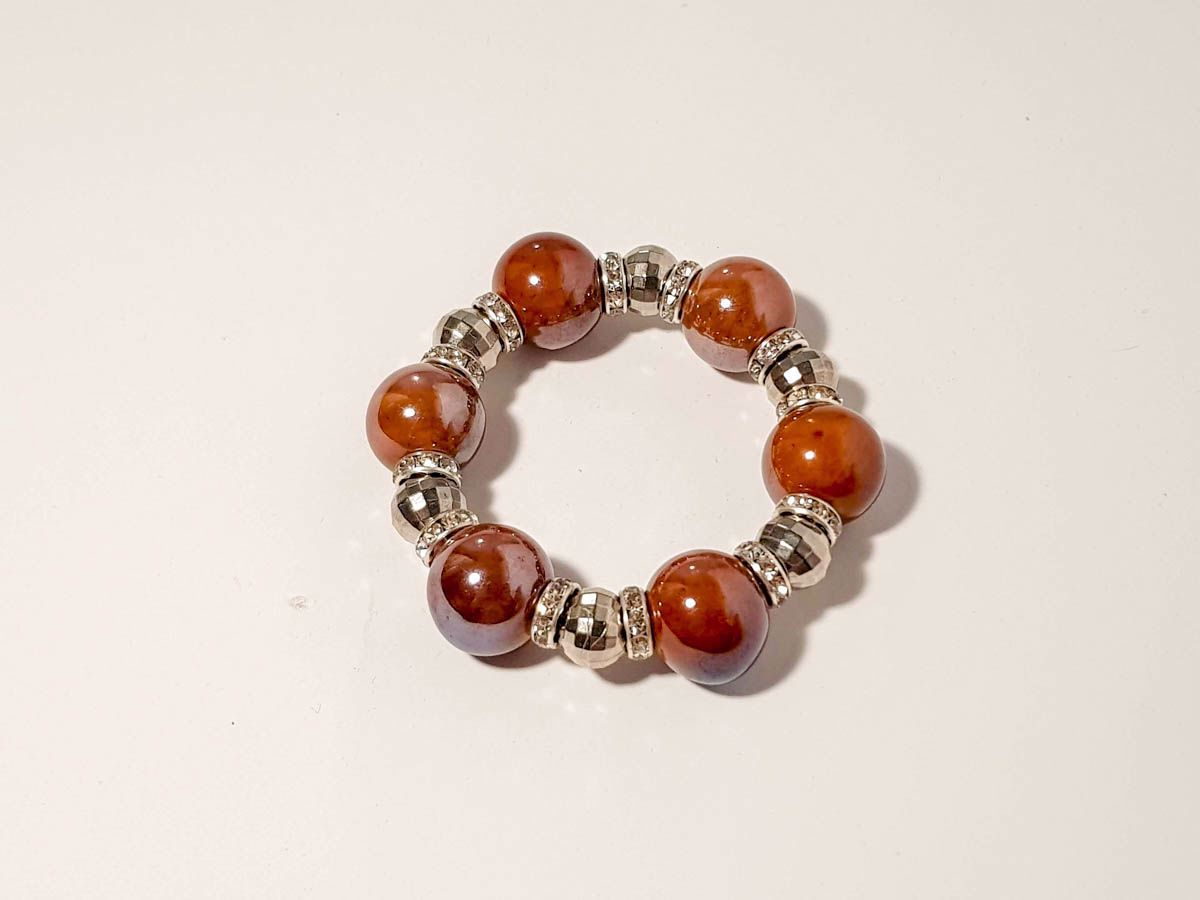 Picture of Woman's Bracelet  with Big Ceramic beads in Various Colors Handmade