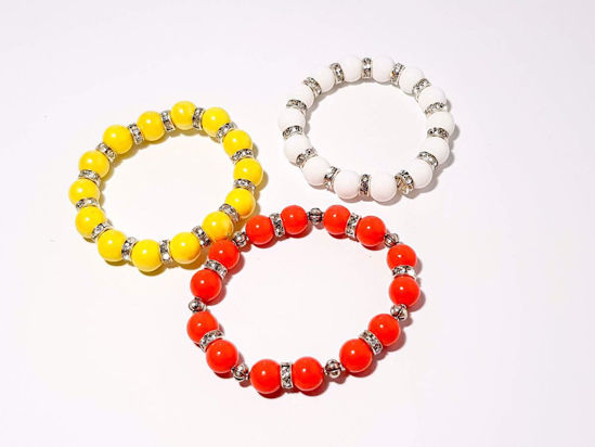 Picture of Woman's Bracelet  with Ceramic beads and metallic elements in Various Colors Handmade