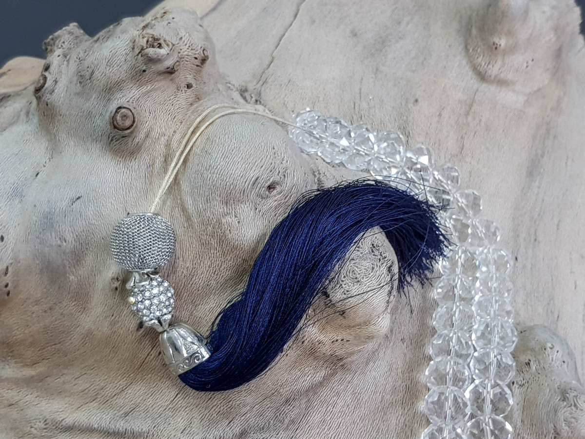 Picture of Greek Komboloi worry beads with crystal beads and big silk tassel. Handmade