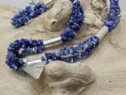 Picture of Chips Stone Necklace Blue with big Silver Colored Metal Pendand . Handmade