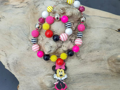 Εικόνα της Children's necklace and bracelet set made with big plastic beads and a big wooden Minnie Mouse figure  Handmade