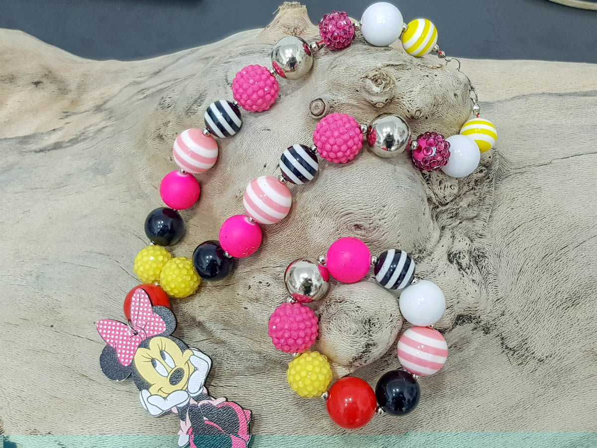 Picture of Children's necklace and bracelet set made with big plastic beads and a big wooden Minnie Mouse figure  Handmade