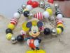 Εικόνα της Children's necklace and bracelet set made with big plastic beads and a big wooden Mickey Mouse figure  Handmade