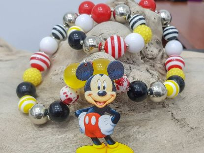 Picture of Children's necklace and bracelet set made with big plastic beads and a big wooden Mickey Mouse figure  Handmade