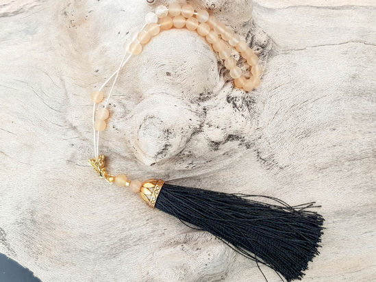 Εικόνα της Greek Komboloi with natural stone gold colored metallic elements and big black tassel. Handmade