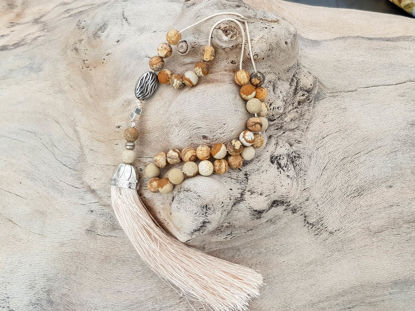 Εικόνα της Greek Komboloi with jasper beads, silver colored metallic elements and big silk tassel. Handmade