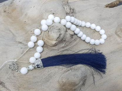 Εικόνα της Greek Komboloi with onyx beads, silver colored metallic elements and big silk tassel. Handmade