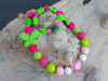 Picture of Children's necklace and bracelet set made with big plastic beads, butterfly's and  a big heart.  Handmade