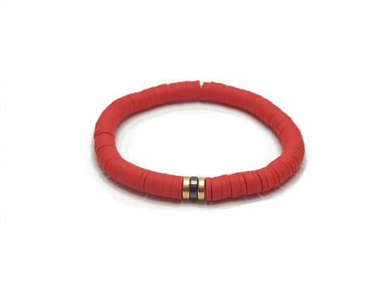 Picture of Candy Loop with red beads and two gold plated beads in the center