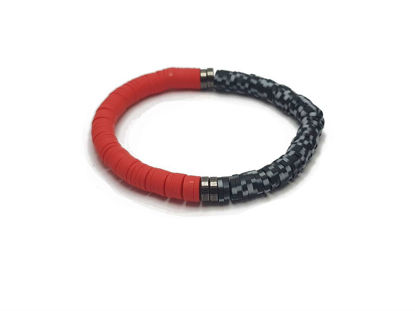 Picture of Candy Loop in a combination of red , black and white beads