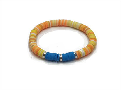 Picture of Candy Loop with a combination of yellow, orange and blue brads
